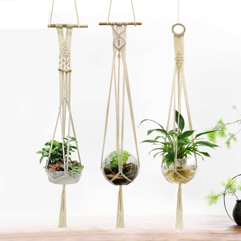 3pcs Cotton Vintage Garden Rope Basket Wall Hanging